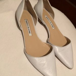 Manolo Blahnik White D'Orsay Pointed Toe Flats